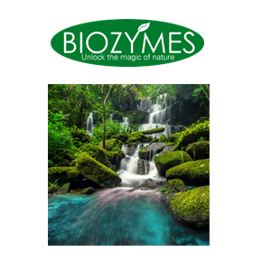 Biozymes logo sitting over image of waterfall in lush forest