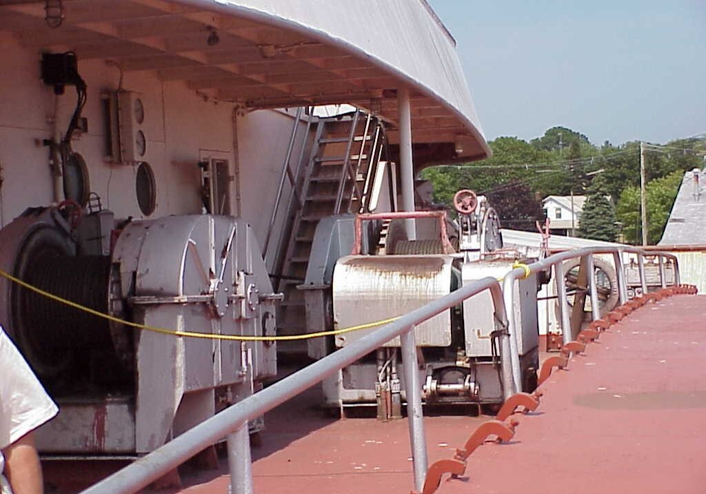 outside view of machinery on a ship's deck