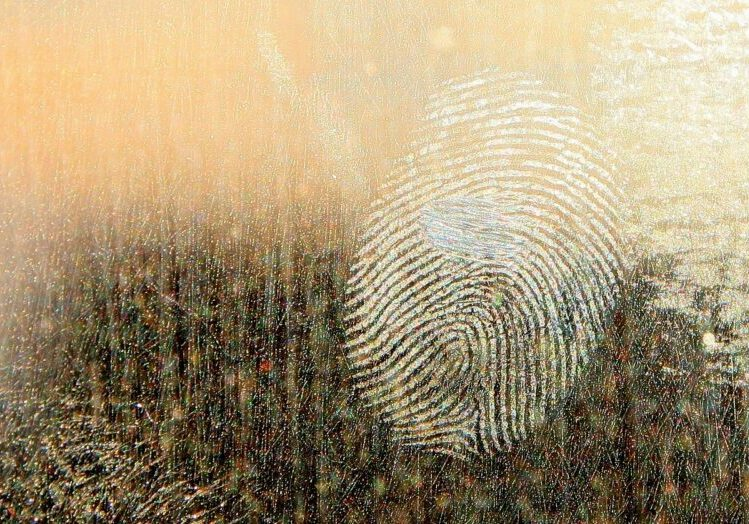 Image of a fingerprint on metal surface