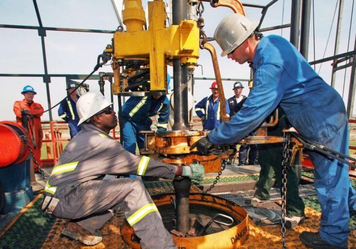 Men working on oil rig