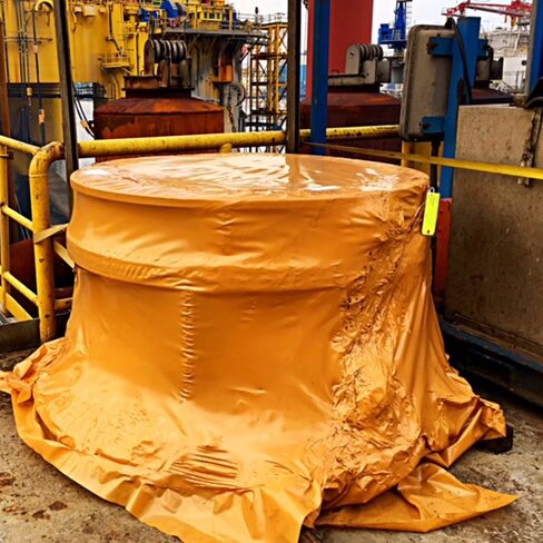 Oil refinery part protected with vci corrosion prevention brown shrink wrap film