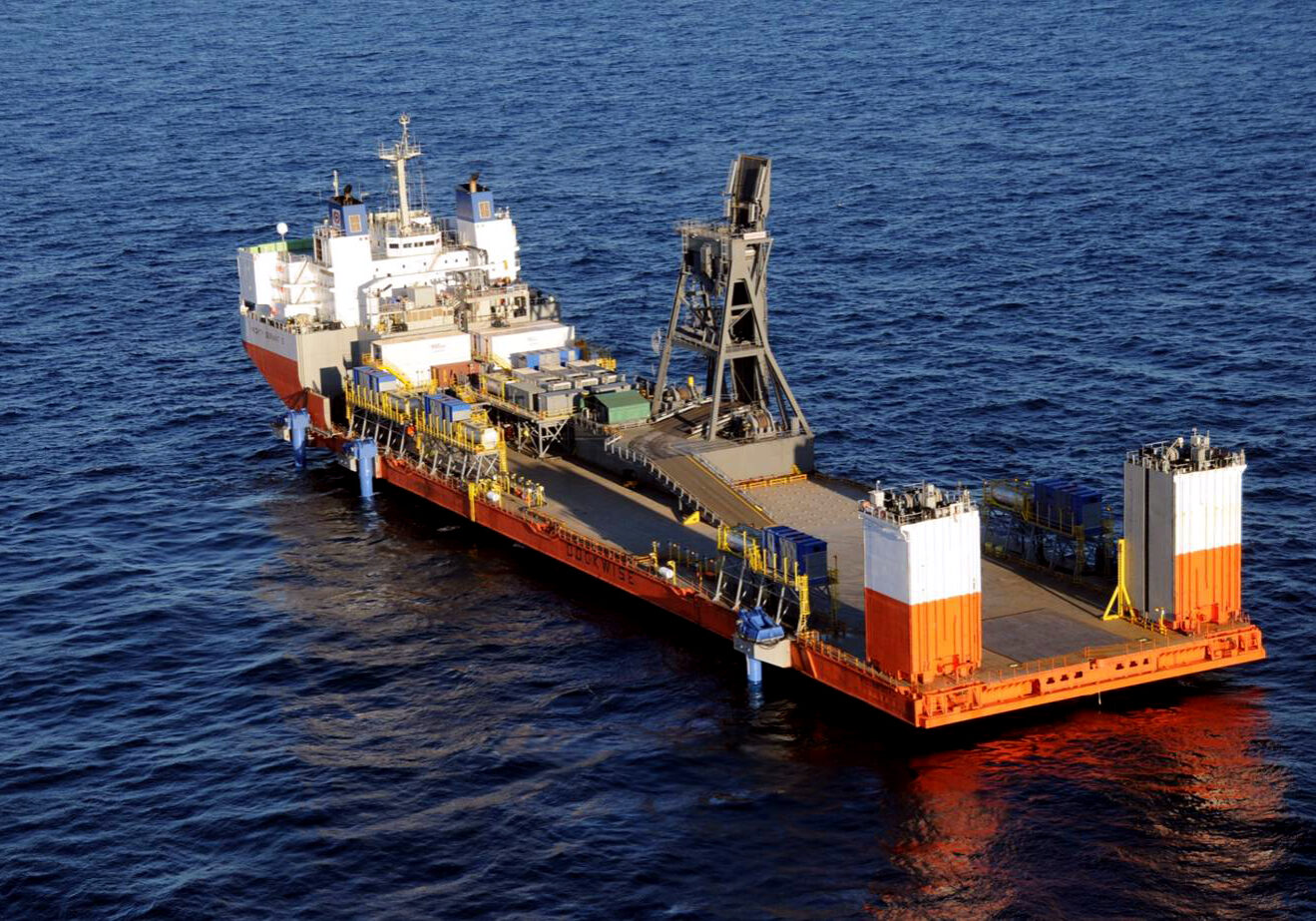 Ocean drilling ship out at sea